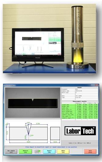 Optikai eszköz charpy próbatestek automatikus méretellenőrzéséhez