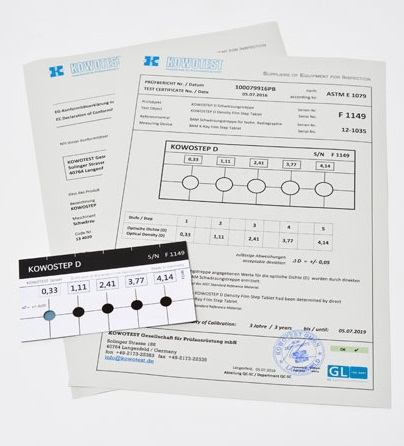 KOWOSTEP D hitelesített feketedésmérő etalon